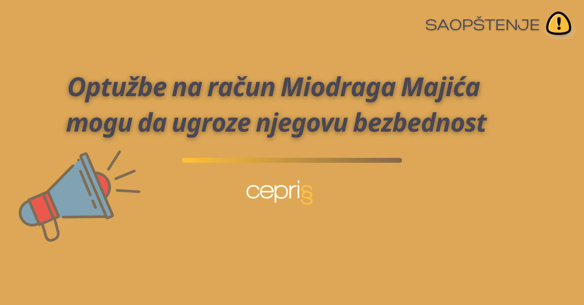 Optužbe na račun Miodraga Majića mogu da ugroze njegovu bezbednost