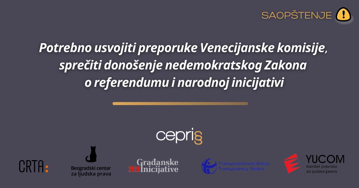 Sprečiti donošenje nedemokratskog Zakona o referendumu i narodnoj inicijativi